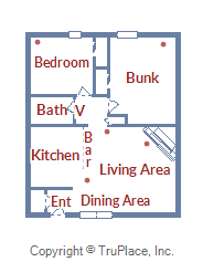 Floor Plan for Beautifully Decorated 2 Bedroom Mountain Retreat