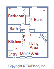 Floor Plan for Newly Remodeled Modern Ground Level 2 Bedroom Condo