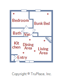 Floor Plan for Pet Friendly 2 Bedroom Ski Condo with Amazing Views
