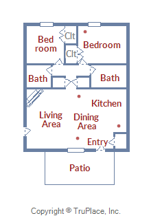 Floor Plan for Spacious 2 Bedroom/2 Bathroom Pet Friendly Condo