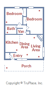Floor Plan for Large, Modern, Pet Friendly 2 Bedroom Condo