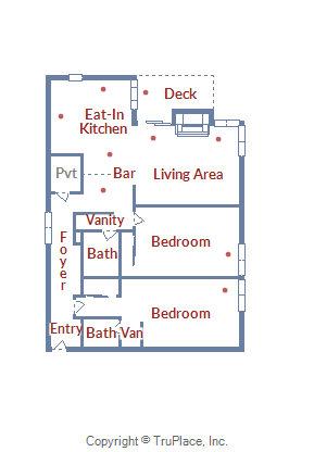 Floor Plan for Large Corner 2 Bedroom Unit with a Cozy Mountain Atmosphere