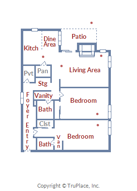 Floor Plan for Beautiful 2 Bedroom Condo with Slopeside Access