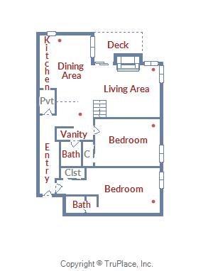 Floor Plan for Beautiful Corner 2 Bedroom Condo with a Bonus Loft