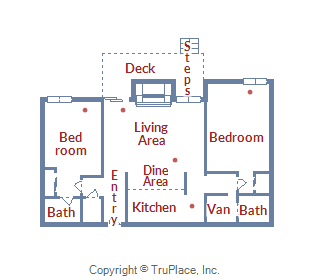 Floor Plan for Cozy 2 Bedroom Condo at the Base of Peak 8