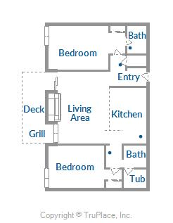Floor Plan for Amazing Views in this Modern 2 Bedroom Condo